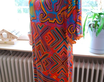 Vintage 60's/70's Party Dress With Pom Pom Trim,  Malbe Original