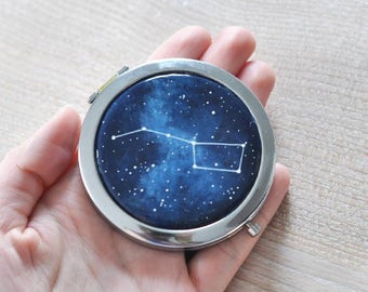 Pocket Mirror Hand painted Cosmic Hand mirror Compact mirror Space Make up mirror Purse Hipster Women Portable Beauty Pretty Handbag Gift