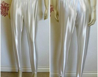 Vintage Stirrup Pants | Leggings with Stirrups | Shiny Pants | 90s Stirrup Pants | Spandex Pants | Stirrup Leggings | White Leggings | 1990s
