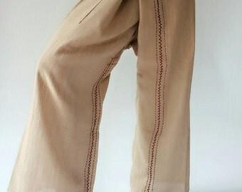 TCZ004 Hand Sewing Inseam design for Thai Fisherman Pants Wide Leg pants, Wrap pants, Unisex pants (TCZ004)