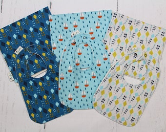 Organic, Baby Bib and Burp Cloth, Newborn Gift, Baby Shower Gift, Organic Cotton, Lets Fly a Kite, Boats, Choose fabric, Build a Set