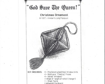 God Save the Queen Christmas Ornament Kit with Pre-Cut & Pre-Constructed Fabric, From 1987, by Kimberly Long Masopust, Vintage Pattern, Xmas