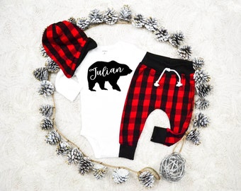 Baby Boy Coming Home Outfit, Christmas, Winter: CHOOSE YOUR COMBO Personalized Bear Bodysuit, Buffalo Plaid Harem Legging Pants, Slouchy Hat