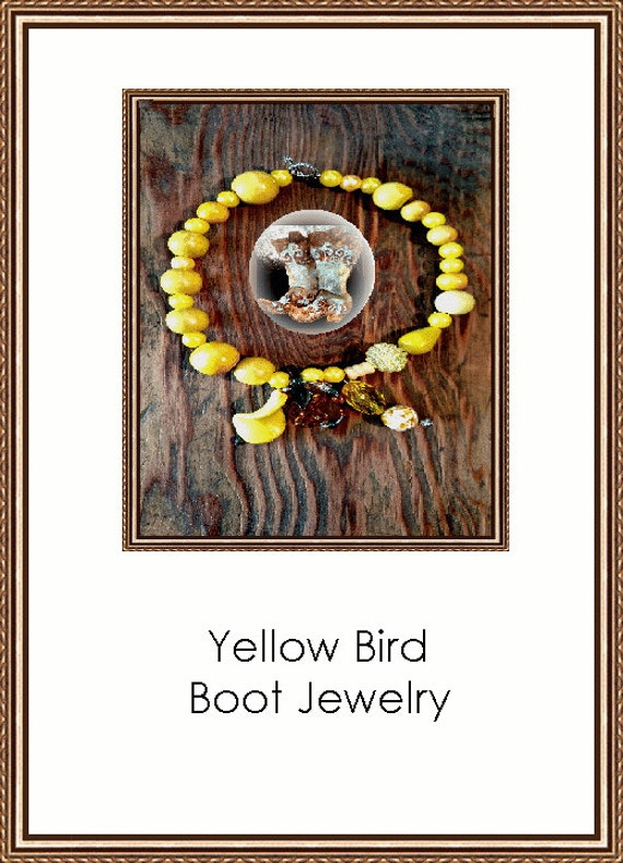 Yellow Bird Boot Jewelry Looks like Feathers Floating In The Wind