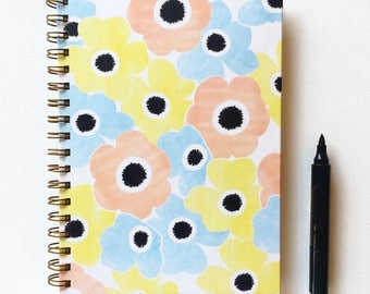 Blank Journal, Spiral Notebook, Journals and Books, Mothers Day Gift, Floral Illustration