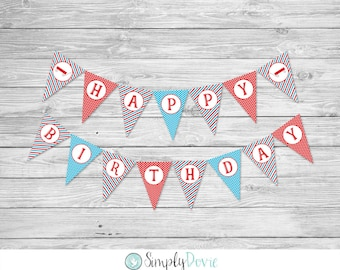 Little Red Wagon Birthday Banner / Printable / DIY / Boy's Birthday Party / Wagon Happy Birthday Banner