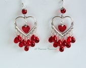 Candy Red Heart Earrings / Valentine Earrings / Gift for Mom / Gift for Her / Heart Chandelier Earrings