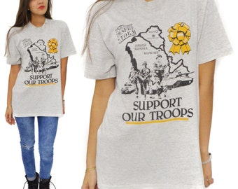 Vintage 90s Operation Desert Storm Support Our Troops Iraq T Shirt Sz L