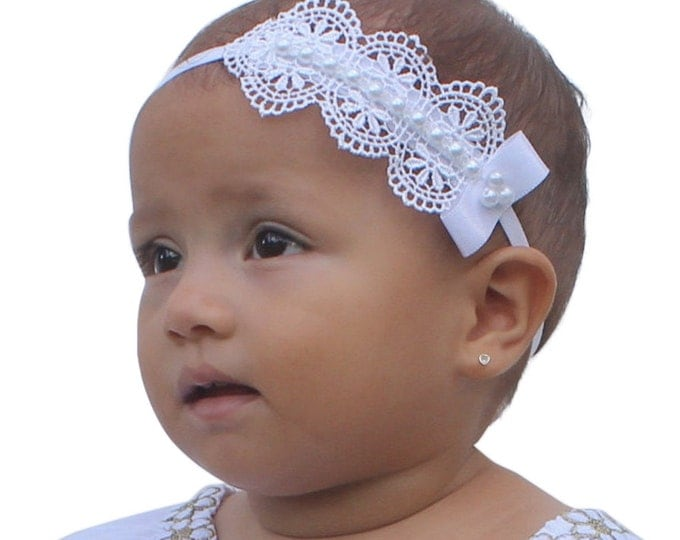 Featured listing image: Baptism Headpiece, White Headband, Lace Headband, Baby Headband, Infant Headbands, Newborn Headband, Christening Headband, White Headpiece