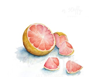 Grapefruit watercolor painting giclee art print, fruit and vegetable art for kitchen decor