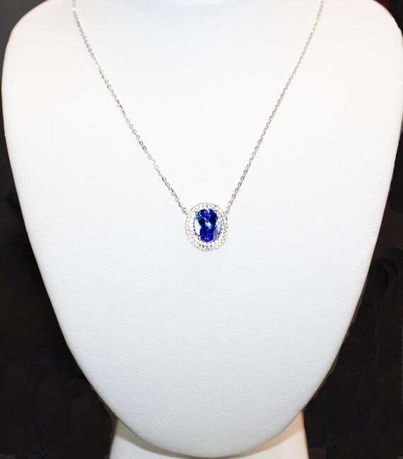 Beautiful Tanzanite: Beautiful Tanzanite And Diamond Designer Necklace By