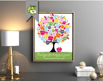 Personalised teacher gift, rainbow tree, Teacher apple, Tree Class Names, Teacher Appreciation, End of year, Teacher gift, Custom, printable