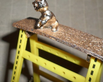 Earring Holder Ladder VINTAGE 80's Kitten Kitty Cat Yellow & Gold CUTE