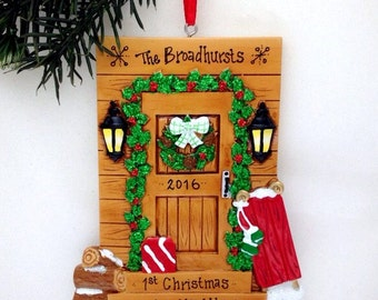 FREE SHIPPING Cabin Door Personalized Christmas Ornament / Log Cabin Ornament / Housewarming / New Home / Ski Trip / Vermont Ornament