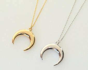Crescent Moon Necklace, Gold Necklace, Silver Necklace, Everyday Wear