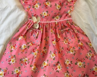 Pretty and Pink Dress size 3T with a Pocket Bunny