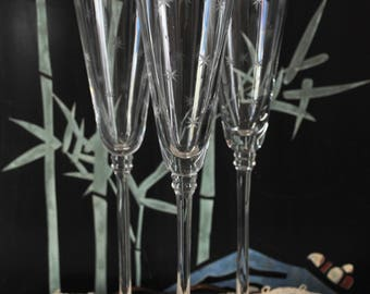 Mid Century Silver Rim Etched Star Champage Glasses