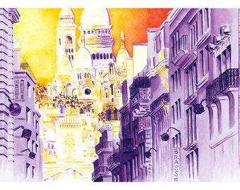 Paris Print: Sacre Coeur, Montmartre, Paris
