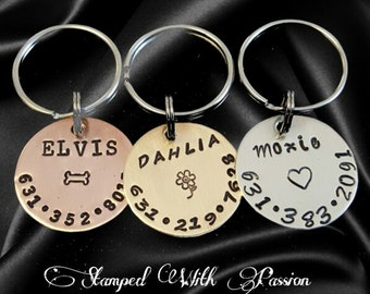 Dog Tag - Dog id Tag - Dog Name Tag - Hand Stamped - Paw Print Dog Tag