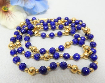 Napier Gold tone 6mm Speckled blue Glass Bead Necklace