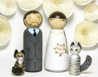 Wedding Cake Topper With Cat - Peg Doll Cake Topper - Wedding Decor - Wedding Heirloom - Rustic Cake Topper - Custom Wedding Cake Toppers