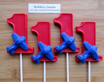 "Number ONE ""AIRPLANE"" Chocolate Pops (12) - 1-9 AVAILABLE! Plane Birthday/Airplane Favors"