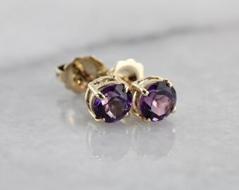 Classic Amethyst Stud Earrings in Yellow Gold KKV91J-R