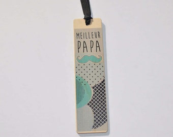Wooden - best dad bookmark