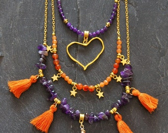 Layered gold necklace set, Purple and orange, Amethyst Agate necklace, Heart tassel necklace, Wrapped crystal necklace, 1160-1161-1162