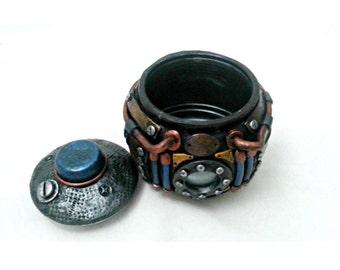 Steampunk Stash Jar, Industrial candy jar