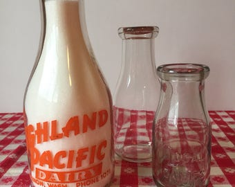 Vintage Milk Bottle, Glass Dairy Milk Bottle, Quart Milk Bottle, Mt Vernon Washington Milk Bottle, Farmhouse Kitchen, Rustic Kitchen
