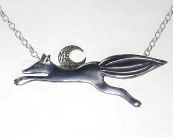 Fox 'neath the Moon Pendant / Brooch. oxidised sterling silver. Etched sterling silver moon with pure gold.