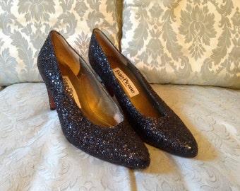 1980s Vintage Shoes Evan-Picone Black Sparkle Pumps Made in Spain Sz 8