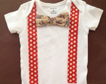 Sock Monkey Bow Tie Baby Onesie - Snap-on Bow Tie