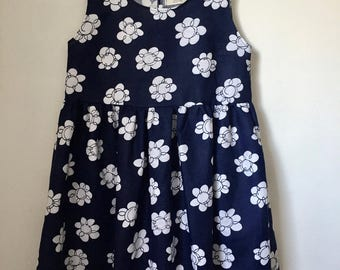 Prairie ruffle dress - vintage navy and white floral cotton blend S/M and M/L