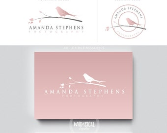 elegant bird logoo -Watercolor Logo Branding Package feminine Logo children boutique - Photographer package logo Script rose gold Logo