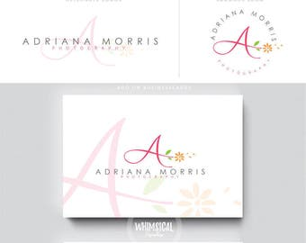 cute floral initials logo luxury branding letters businesscards swirly modern feminine Identity artist makeup wedding photographer script