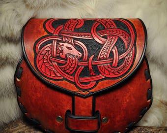 Leather Sporran Norse Celtic Viking Scotish Dragon Knotwork Belt Bag