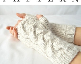 Fingerless Gloves Knitting Pattern Dk : Cable knit pattern Etsy
