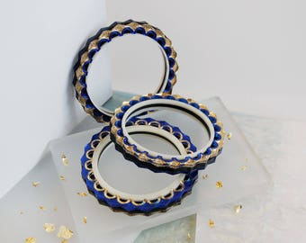 Zigzag Bangle: Gold & Blue Mirror. Double Sided Reversible Laser Cut Etched Patterned. Mirror Acrylic Perspex Bracelet Scallop Cutout