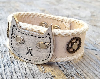 Steampunk Cat Leather Wristband Cuff -Steampunk Bracelet-Steampunk cuff - leather cuff -steampunk Girlfriend Ladies gift