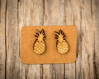 FREE SHIPPING WORLDWIDE - Bamboo Pineapple Earrings - Surgical Steel - Studs - Gift Box - Handmade Bamboo Wood Earrings - Acrylic Studs