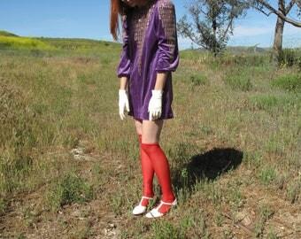 80's Purple Velour Mini Dress sz Sm
