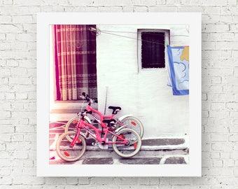 Greece print, bike wall art, bicycle print, pink wall decor, fine art photography, travel prints, square print, home decor wall art
