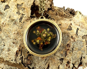 Orange red flower resin pendant, eco resin necklace, open bezel, handmade, real pressed flower, ecological jewelry, unique, 15% off ship