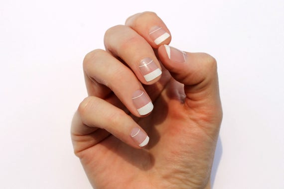 White Elise Nail Wraps - Fits Shorter Nails