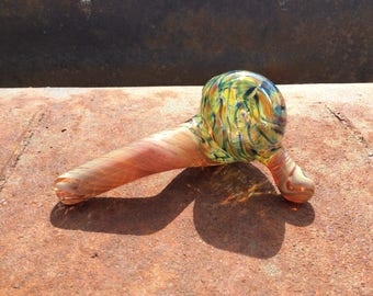 Glass Smoking Pipe // Sherlock Pipe // Hand Blown // Heady Glass // Spring Weave // Caramel // Signed