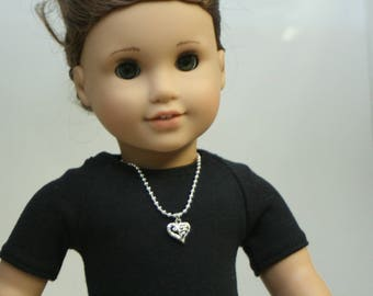 Heart Necklace, Made to Fit American Girl Doll, 18 inch Doll Jewelry, Doll Jewelry, 18 Inch Doll Necklace
