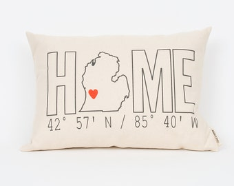 Personalized Pillow, Home Coordinates Pillow, Custom Pillow, Housewarming Gift, Custom Coordinates, Realtor Gift, Custom State Pillow