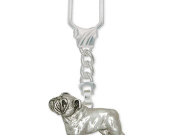 Bulldog Key Ring Jewelry Sterling Silver Handmade Dog Key Ring BD9-KRE
